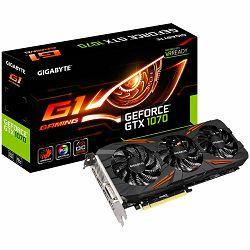 Grafička kartica GIGABYTE GeForce GTX 1070 G1 GAMING GDDR5 8GB/256bit, Boost Mode 1784MHz/8008MHz, PCI-E 3.0 x16, HDMI, DVI-D, 3xDP, WINDFORCE 3X Cooler,RGB (Double Slot), Retail