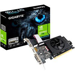 GIGABYTE Video Card NVidia GeForce GT 710 LP DDR5 2GB/64bit, 954MHz/5010MHz, PCI-E 2.0 x8, HDMI, Cooler, 1 x HDMI+DVI+VGA, Retail