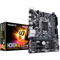 GIGABYTE Main Board Desktop Intel H310 (S1151v2, 2xDDR4, Realtek ALC887, 1x10/100/1000 Mbit, 1xPCIEX16, 2xPCIEX1, 1xM.2, 4xSATA 6Gb/s, 2xPS/2, 1xDP, 1xHDMI, 2xUSB3.1Gen1, 4xUSB2.0, 1xRJ-45) mATX, Reta