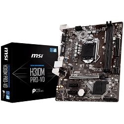 Matična ploča MSI H310M PRO-VD (S1151, DDR4, USB3.1, USB2.0, SATA III, DVI-D, VGA - Requires Processor Graphics, 8-Channel(7.1) HD Audio with Audio Boost, Realtek 8111H Gigabit LAN) mATX Retail