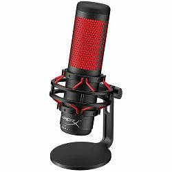 HyperX QuadCast Standalone Microphone, el. condenser microphone, Anti-Vibration shock mount, Tap-to-Mute sensor with LED indicator, 4 selectable polar patterns (Stereo, Omnidirectional, Cardioid, Bidi