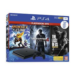 Igraća konzola SONY PlayStation 4, 1000GB, Slim, Uncharted 4, The Last of Us, Ratchet & Clank, crni + Marvel's Spiderman Standard Edition