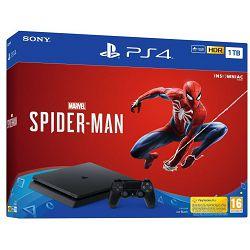 Igraća konzola SONY PlayStation 4, 1000GB, F Chassis, Marvel's Spiderman, crna + Gamepad SONY PlayStation 4, DualShock 4 v2, bežični, crni