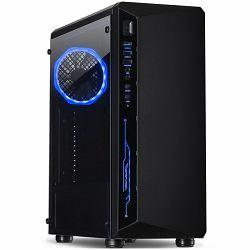 Kućište INTER-TECH C-3 SAPHIR Gaming Midi Tower, ATX, 1xUSB3.0, 2xUSB2.0, audio, PSU optional, Tempered glass side panel, Illuminated connections in the front, RGB control board, 120mm RGB fan, Dust f