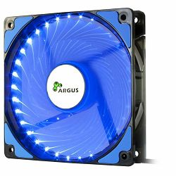 INTER-TECH FAN Argus L-12025, 120mm with 33 BLUE ultra bright LEDs, Vibration-free, Rubberized dampers, Fluid-bearing, 3pin and 4pin Molex, Retail