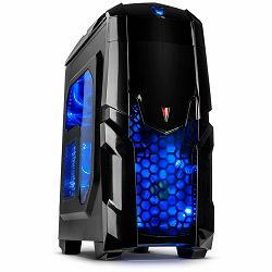 Kućište Chassis INTER-TECH Q2 ILLUMINATOR BLUE Gaming Midi Tower, ATX, 2xUSB3.0, 1xUSB2.0, Audio, Card reader, PSU optional, Sidepanel with window, 3x 120mm fans with BLUE LEDs, Dust filters, Black