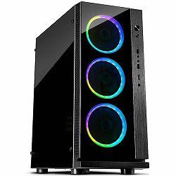 Kućište INTER-TECH W-III RGB Midi Tower, eATX, 1xUSB3.0, 2xUSB2.0, audio, PSU optional, Acrylic side, Tempered glass front(3x 120mm RGB fans), Black