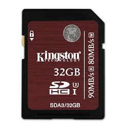Kingston SDXC, UHS-I, U3, R90/W80, 32GB