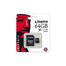 KINGSTON 64GB microSDXC Class 10 UHS-I 45MB/s Read Card + SD Adapter