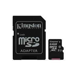 KINGSTON 64GB microSDXC Class 10 UHS-I 45R Flash Card Single Pack w/o Adapter