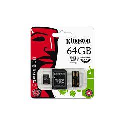 Kingston  64GB microSDXC Class 10 UHS-I 90R/45W Single Pack w/o Adapter, EAN: 740617231380