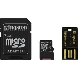 Kingston Multi-Kit / Mobility Kit - Flash memory card ( microSDHC to SD adapter included ) - 64 GB - Class 10 - microSDHC - with USB Reader