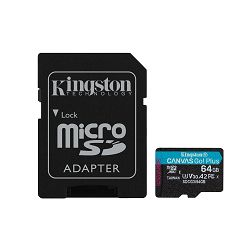 KINGSTON 64GB microSDXC Canvas Go Plus 170R A2 U3