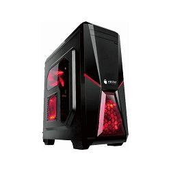 Kućište NEON Battlestar, crveni LED, crveni LED, prozor, 2x USB 2.0, 2x 12cm crveni LED ventilator (1 naprijed, 1 straga), bez napajanja, crno - CL-GQ1B