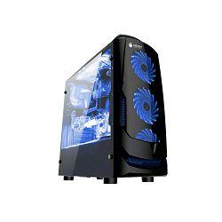 Kućište NEON Falcon, plavi LED, prozirna bočna stranica, 2x USB 2.0, 3x 12cm plavi LED ventilator (2 naprijed, 1 straga), bez napajanja, mATX, crno - CL-V6B