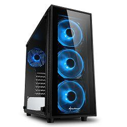 Kućište Sharkoon TG4 Midi Tower ATX kućište, bez napajanja, prozirna prednja/bočna stranica, plavi LED, crno 43339