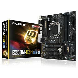Matična ploča Gigabyte INTEL B250 (Socket LGA1151,4xDDR4,HDMI,DVI-D,D-Sub,1xPCIEX16/1xPCIEX4/2xPCI,USB3.0/USB2.0, 6xSATA III/1xSATA Express/1x M.2socket3,LAN) mATX retail