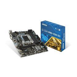 Matična ploča MSI B150M PRO-VDH, S.1151, iB150, DDR4/2133, PCIe, D-Sub/DVI/HDMI, S-ATA3, G-LAN, 8ch., mATX