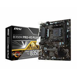 Matična ploča MSI B350M PRO-VD PLUS, SAM4, 2xDDR4, PCI-Ex16, 2xPCI-Ex1, USB3.1, USB2.0, 4xSATA III, M.2, Raid, VGA, DVI-D, GLAN, mATX Retail