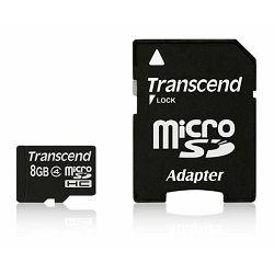 Memorijska kartica Transcend SD Micro 8GB HC Class 4 + SD ad