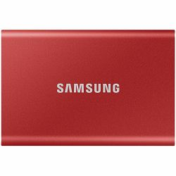 Samsung SSD T7  External 1TB, USB 3.2, 1050/1000 MB/s, included USB Type C-to-C and Type C-to-A cables, 3 yrs, metallic red, EAN: 8806090312458
