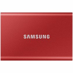 Samsung SSD T7  External 500GB, USB 3.2, 1050/1000 MB/s, included USB Type C-to-C and Type C-to-A cables, 3 yrs, metallic red, EAN: 8806090312465