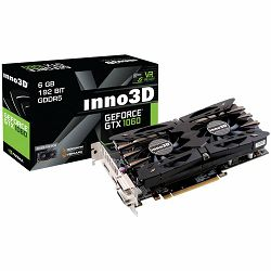Grafička kartica Inno3D GeForce GTX 1060 Twin X2 GDDR5 3GB/192bit, 1506MHz/8000MHz, PCI-E 3.0 x16, HDMI, 2xDVI-D, DP, HerculeZ 2X Cooler (Double Slot), Retail