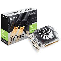 Grafička kartica MSI GeForce GT 730 GDDR5 2GB/64bit, 1006MHz/5000MHz, PCI-E 2.0 x16, HDMI, DVI-D, VGA, Sleeve Fan Cooler (Double Slot), Retail