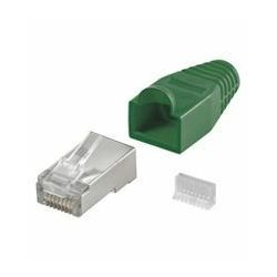 NaviaTec CAT5e shielded RJ45 plug for round cable incl strain relief green 10pc