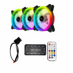 Ventilator NaviaTEC RGB PC Case Dual Ring Fan x3 Controller BUNDLE