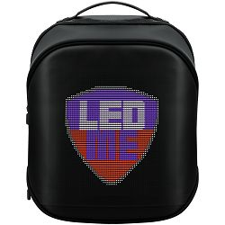Prestigio LEDme MAX backpack, animated backpack with LED display, Nylon+TPU material, connection via bluetooth, dimensions 42*31.5*20cm, LED display 64*64 pixels, black color.