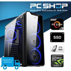 PC Računalo MagazinRS Ryzen (AMD 7 1700 3.0GHz, GTX 1080Ti 11GB, 16GB DDR4 RAM, HDD 2TB + SSD 250GB, DVD-RW)