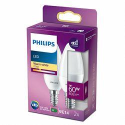 Philips LED žarulja, E14, B38, topla, 7W, mat, 2x