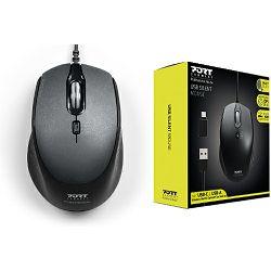 Miš Port OFFICE PRO SILENT, žični, crni