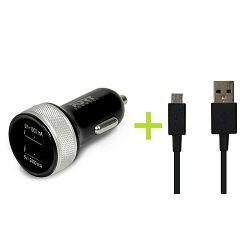 Port auto punjač 2xUSB + Micro USB - 2.4A+1A, crni