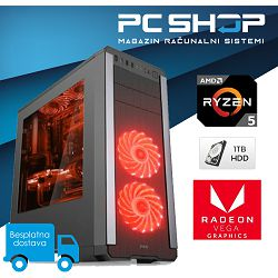 Računalo MagazinRS (AMD Ryzen 5 2400G 3.60 GHz, Radeon Vega 11, 8GB DDR4 RAM, 1TB HDD, DVD-RW)