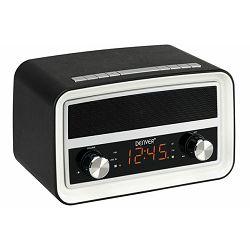 Radio budilica DENVER CRB-619, retro dizajn, BT, crna
