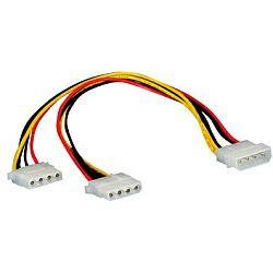 Roline interni Y-naponski kabel, 4-pin M HDD na 2×4-pin F HDD, 0.3m