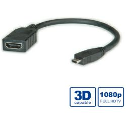 Roline VALUE HDMI High Speed kabel sa mrežom, TIP A (F) - TIP D (M), 0.15m