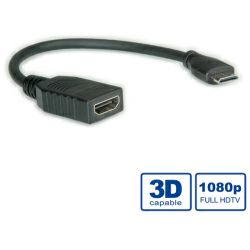 Roline VALUE HDMI High Speed kabel sa mrežom, Type A F - Type C M (mini), 0.15m