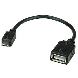 Roline VALUE USB2.0 kabel TIP A na Micro B (F,M), 0.15m