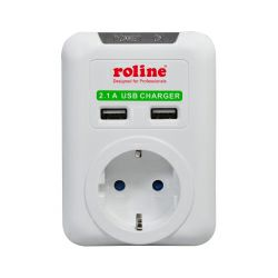 Roline zidna utičnica (Schuko) + 2× USB punjač, bijela