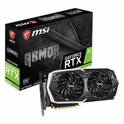 Grafička kartica MSI NVidia GeForce RTX 2070 GDDR6 8GB/256bit, 1420MHz/14000MHz, PCI-E 3.0 x16, 3xDP, HDMI, USB Type-C, ARMOR 2X Cooler(Double Slot) RGB Mystic Light, Backplate, Retail