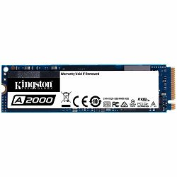 SSD KINGSTON A2000 250G SSD, M.2 2280, NVMe, Read/Write: 2000 / 1100 MB/s, Random Read/Write IOPS 150K/180K