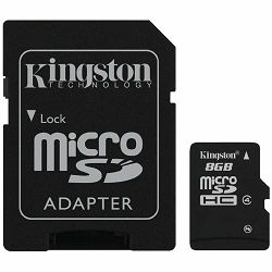 Memorija Kingston Memory ( flash cards ) 8GB Micro SDHC Class 4, 1pcs with SD adapter