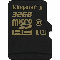Kingston  32GB microSDHC Class 10 UHS-I 90MB/s read 45MB/s write + SD Adapter, EAN: 740617229912