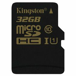 Kingston  32GB microSDHC Class 10 UHS-I 90R/45W Single Pack w/o Adapter, EAN: 740617229974