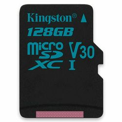 Memorijska kartica Kingston 128GB microSDXC Canvas Go 90/45 U3 UHS-I V30 Single Pack W/O Adptr EAN: 740617276350