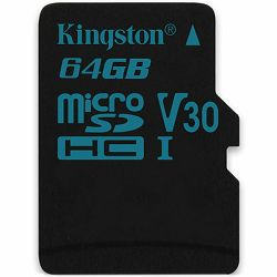 Memorijska kartica Kingston 64GB microSDXC Canvas Go 90/45 U3 UHS-I V30 Single Pack W/O Adptr EAN: 740617276251