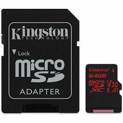 KINGSTON 64GB microSDXC Canvas React 100R/80W U3 UHS-I V30 A1 Card + SD Adptr